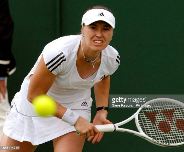 Switzerland's Martina Hingis in action against Great Britain's Naomi Cavaday during The All England Lawn Tennis Championship at Wimbledon
