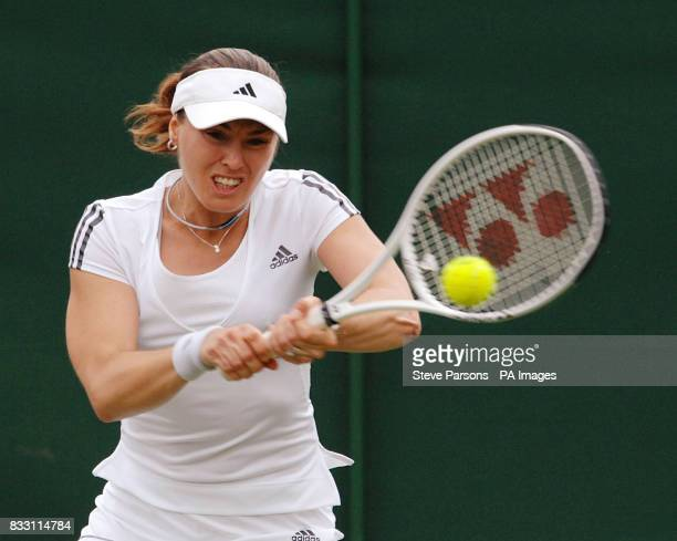 Switzerland's Martina Hingis in action against Great Britain's Naomi Cavaday at The All England Lawn Tennis Championship at Wimbledon