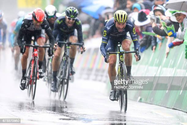 Switzerland's Michael Albasini of Team Orica sprints to win the first stage of Tour de Romandie UCI protour cycling race a 173km ride from Aigle to...