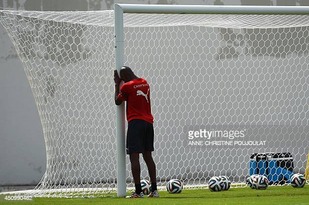 Switzerland's midfielder Gelson Fernandes exercises during a training session on June 21 2014 at the Municipal Stadium in Porto Seguro after their...