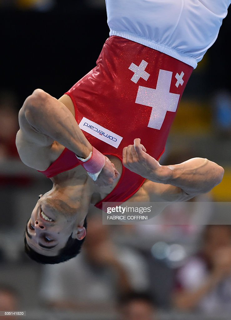 Switzerlands Pablo Braegger performs during the Mens Floor competition of the European Artistic Gymnastics Championships 2016 in Bern, Switzerland on May 29, 2016. / AFP / FABRICE