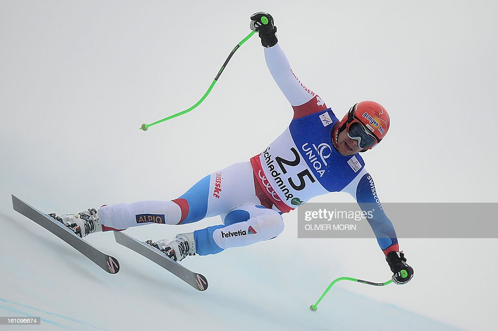 Switzerland's Patrick Kueng competes during the men's downhill event of the 2013 Ski World Championships in Schladming, Austria on February 9, 2013.