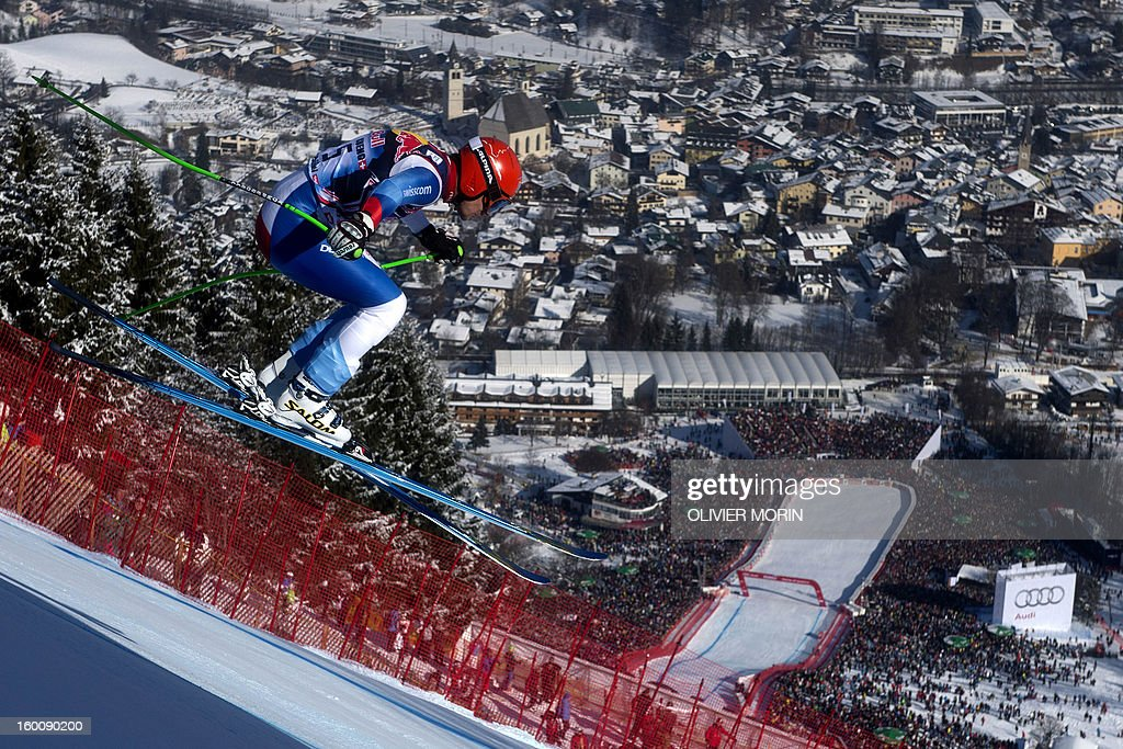 Switzerland's Patrick Kueng competes during the men's World Cup Downhill, on January 26, 2013 in Kitzbuehel, Austrian Alps. Italy's Dominik Paris won the race ahead Canda's Erik Guay and Austria's Hannes Reichelt . AFP PHOTO / OLIVIER MORIN