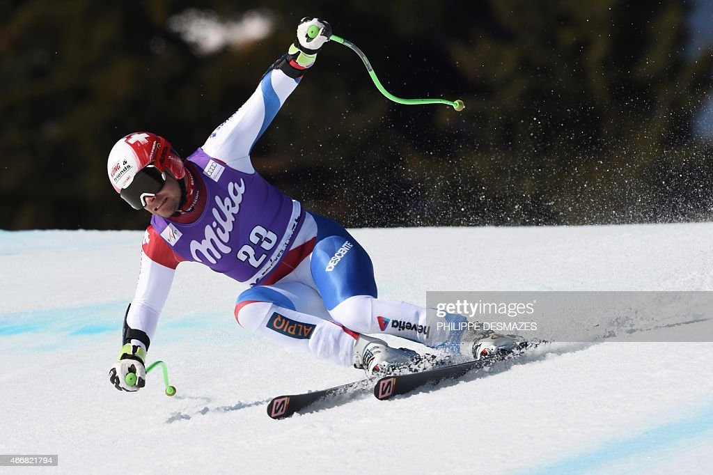 Switzerland's <a gi-track='captionPersonalityLinkClicked' href=/galleries/search?phrase=Patrick+Kueng&family=editorial&specificpeople=5666309 ng-click='$event.stopPropagation()'>Patrick Kueng</a> competes in the Men's Super G race at the FIS Alpine Skiing World Cup finals in Meribel on March 19, 2015.