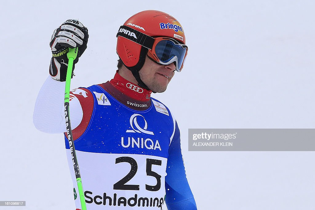 Switzerland's Patrick Kueng reacts after competing during the men's downhill event of the 2013 Ski World Championships in Schladming, Austria on February 9, 2013.