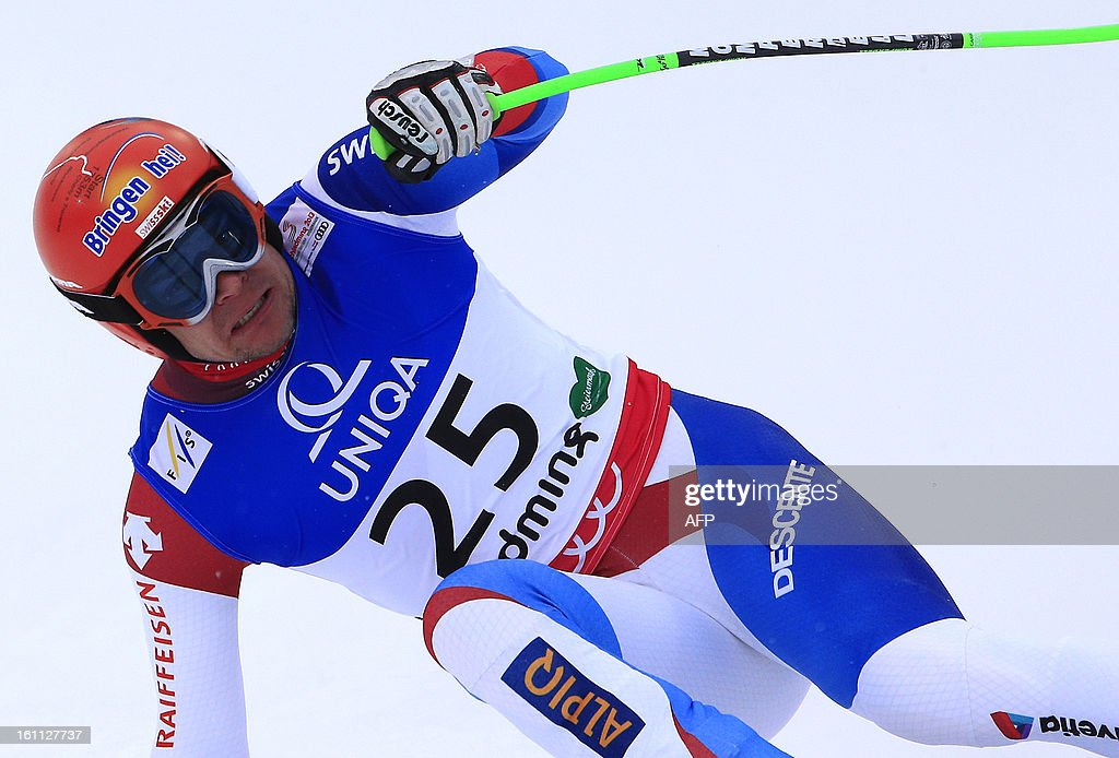 Switzerland's Patrick Kueng reacts after competing during the men's downhill event of the 2013 Ski World Championshis in Schladming, Austria on February 9, 2013.