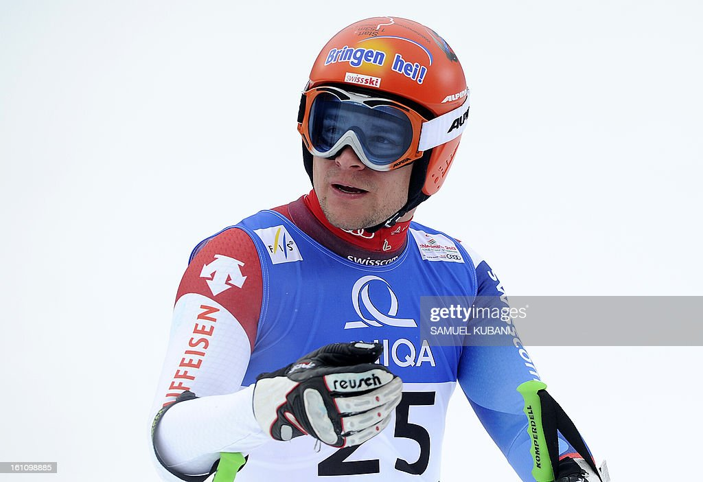 Switzerland's Patrick Kueng reacts at finish line during the men's downhill event of the 2013 Ski World Championships in Schladming, Austria on February 9, 2013.