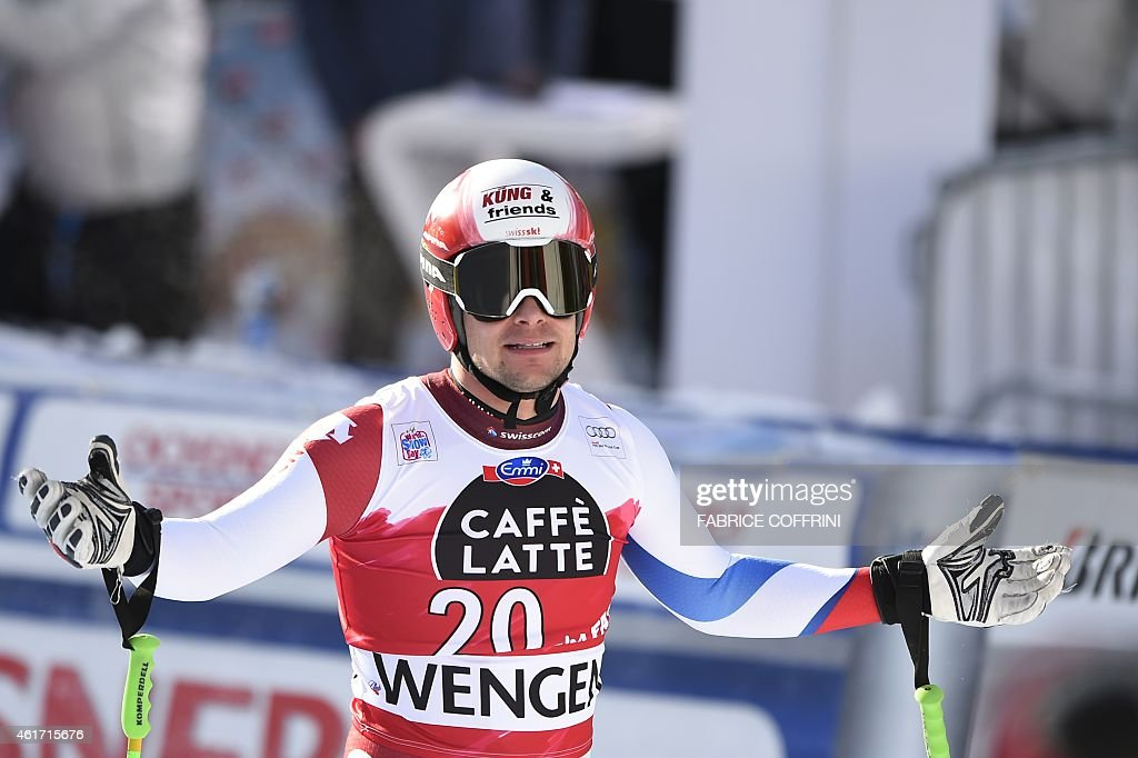 Switzerland's Patrick Kueng reacts during the FIS Alpine Ski World Cup Men's Downhill in Wengen on January 18, 2015. AFP PHOTO / FABRICE COFFRINI