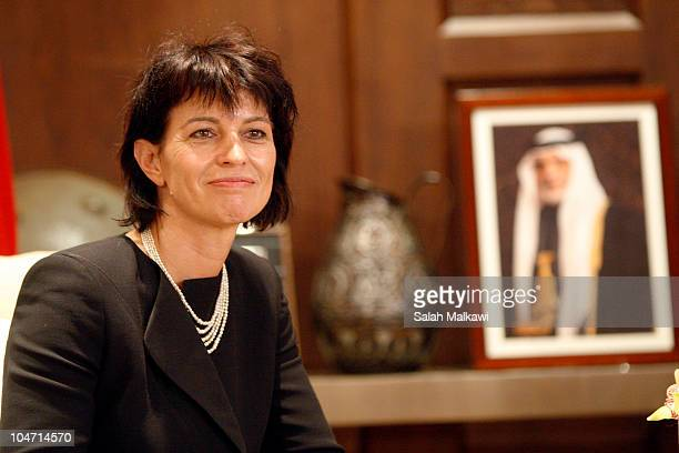 Switzerland's President Doris Leuthard meets with Jordan's King Abdullah upon her arrival at the Royal Palace on October 4 2010 in Amman Jordan...