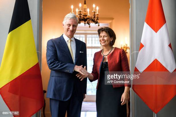 Switzerland's President Doris Leuthard shakes hands with Belgium's King Philippe after a bilateral meeting on June 22 2017 in Bern Belgium's King...