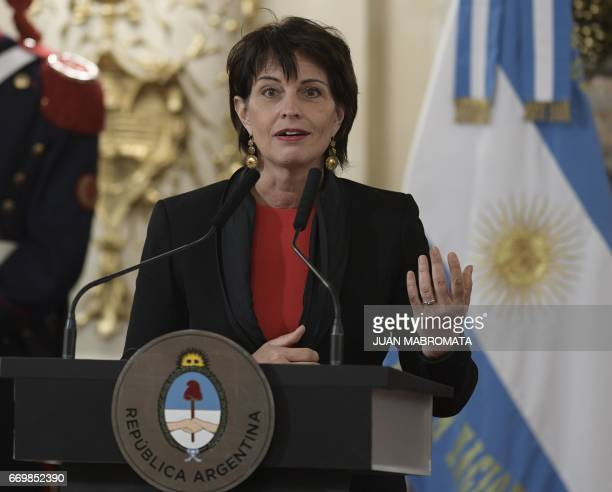 Switzerland's President Doris Leuthard speaks during a joint press conference with Argentina's President Mauricio Macri after holding a working...