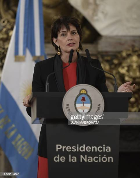 Switzerland's President Doris Leuthard speask during a joint press conference with Argentina's President Mauricio Macri after holding a working...