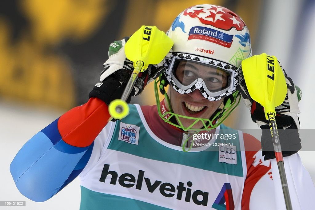 Switzerland's Ramon Zenhaeusern reacts after placed 22th in the men's giant slalom race of the FIS Alpine Skiing World Cup in on January 13, 2013 in Adelboden.