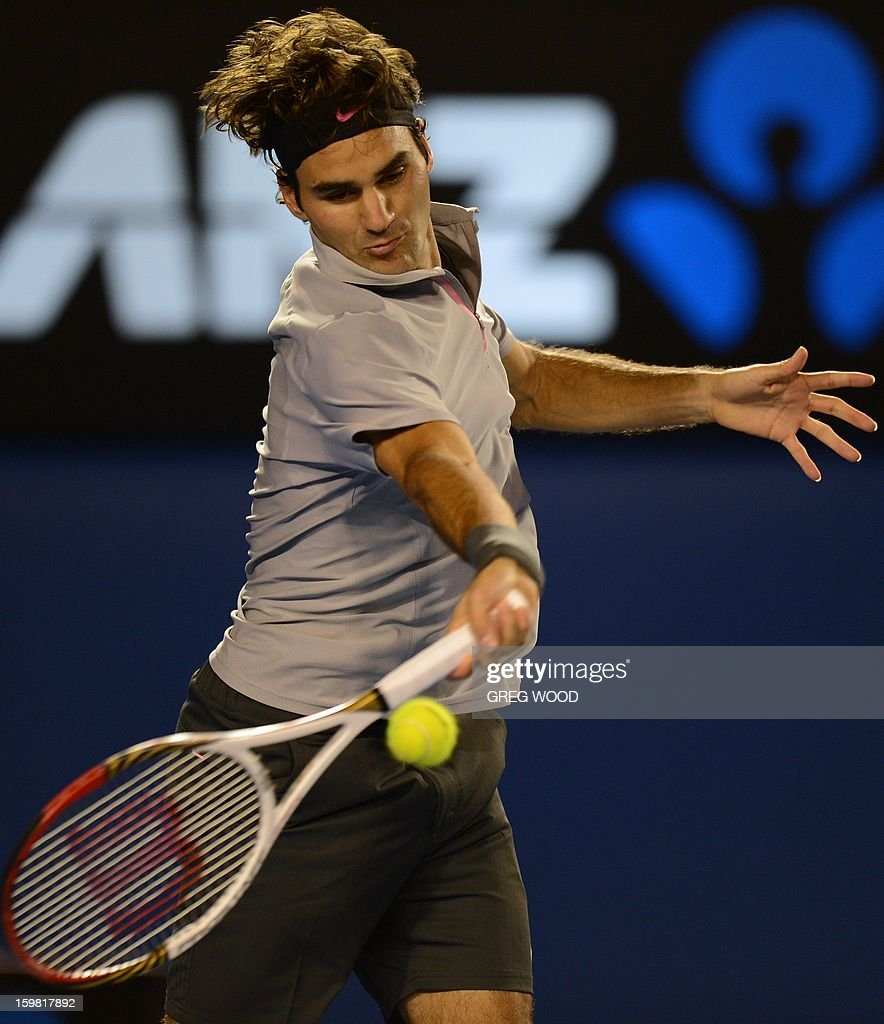Switzerland's Roger Federer hits a return against Canada's Milos Raonic during their men's singles match on day eight of the Australian Open tennis tournament in Melbourne on January 21, 2013. AFP PHOTO / GREG WOOD IMAGE STRICTLY RESTRICTED TO EDITORIAL USE - STRICTLY NO COMMERCIAL USE