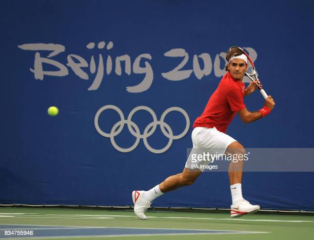 Switzerland's Roger Federer in action against Czech Republic's Tomas Berdych at Beijing's Olympic Green Tennis Centre during the 2008 Beijing Olympic...