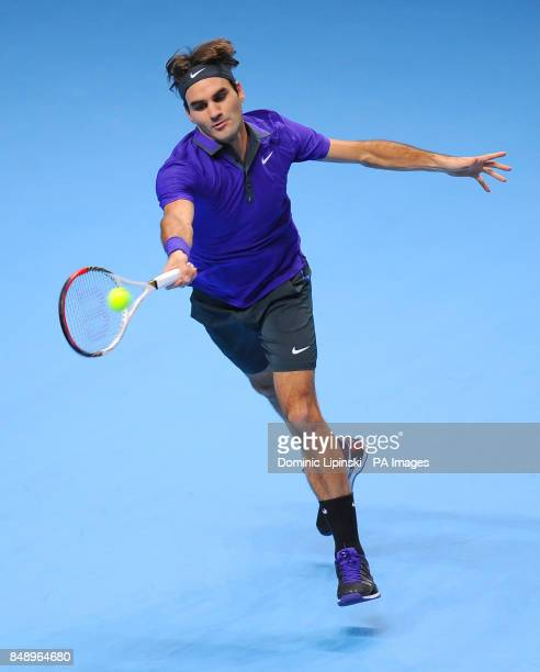 Switzerland's Roger Federer in action in his Men's Singles Group B match against Spain's David Ferrer during the Barclays ATP World Tour Finals at...