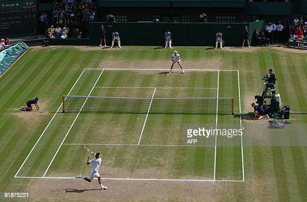 Switzerland's Roger Federer plays against Andy Roddick of the US in the Men's Singles Final of the 2009 Wimbledon Tennis Championships at the All...