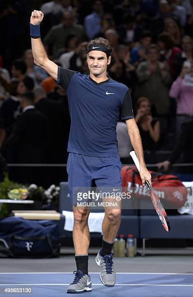 Switzerland's Roger Federer reacts after winning his second round tennis match against Italy's Andreas Seppi during their at the ATP World Tour...