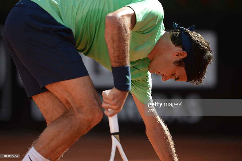 Switzerland's Roger Federer reacts during the final of the ATP Rome Masters against Spain's Rafael Nadal on May 19, 2013.