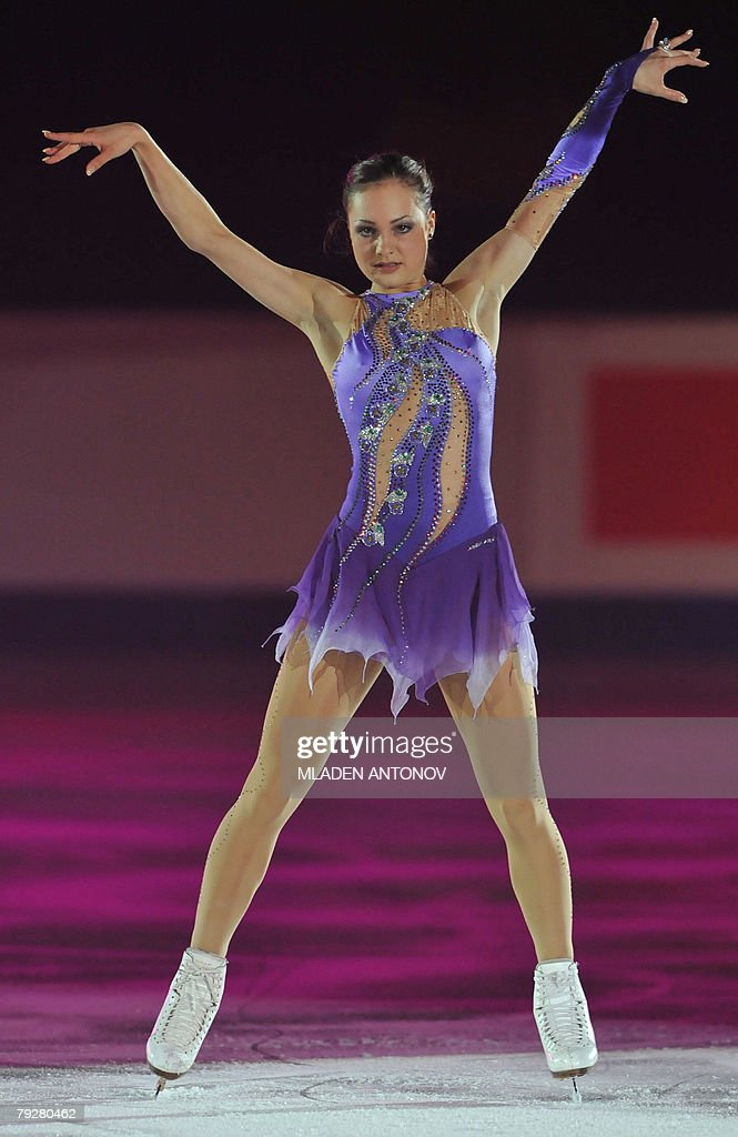 Switzerland's Sarah Meier performs an exhibition program at the Dom Sportova Arena in Zagreb 27 January 2008 during the gala of the European Figure...