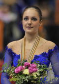 Switzerland's Sarah Meier stands on the podium after the free skating program at the Dom Sportova Arena in Zagreb 26 January 2008 during the European...