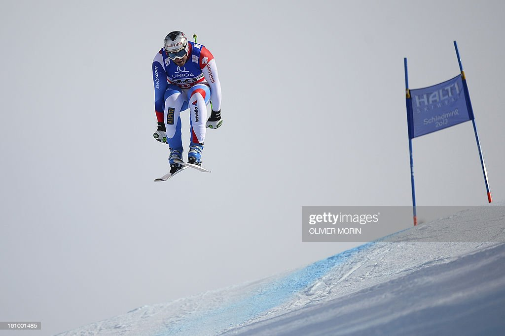 Switzerland's Silvan Zurbriggen competes during the men's downhill training of the 2013 Ski World Championships in Schladming, Austria on February 8, 2013.