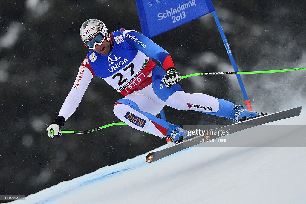 Switzerland's Silvan Zurbriggen competes during the men's downhill event of the 2013 Ski World Championships in Schladming, Austria on February 9, 2013.