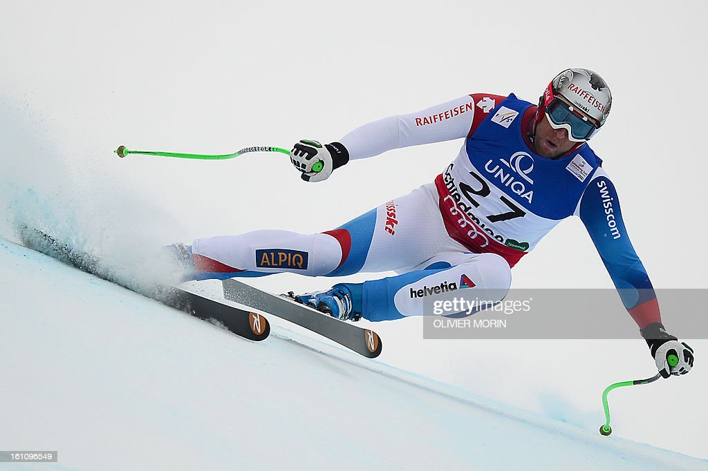 Switzerland's Silvan Zurbriggen competes in the men's downhill event of the 2013 Ski World Championships in Schladming, Austria on February 9, 2013.