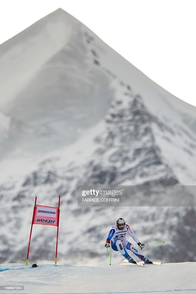 Switzerland's Silvan Zurbriggen leaps on January 18, 2013 in front of the Silberhorn mountain during the downhill event of the men's super combined of the FIS Alpine Skiing World Cup in Wengen.