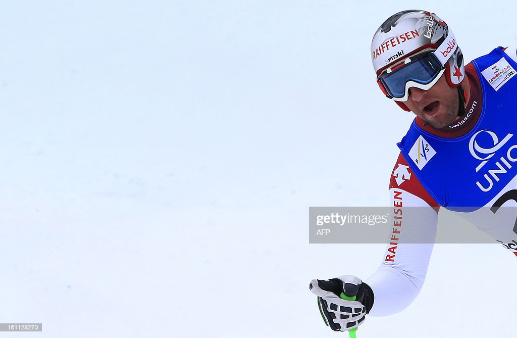Switzerland's Silvan Zurbriggen reacts after competing during the men's downhill event of the 2013 Ski World Championshis in Schladming, Austria on February 9, 2013.