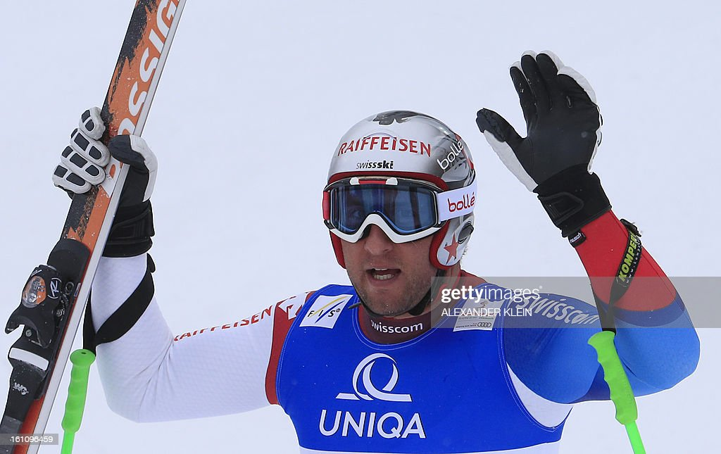 Switzerland's Silvan Zurbriggen reacts after competing in the men's downhill event of the 2013 Ski World Championships in Schladming, Austria on February 9, 2013.