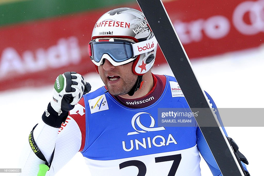 Switzerland's Silvan Zurbriggen reacts at finish line during the men's downhill event of the 2013 Ski World Championships in Schladming, Austria on February 9, 2013. AFP PHOTO / SAMUEL KUBANI