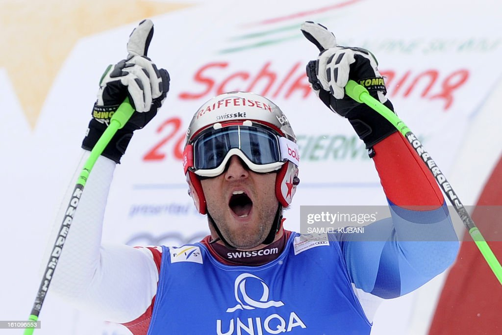 Switzerland's Silvan Zurbriggen reacts at finish line during the men's downhill event of the 2013 Ski World Championships in Schladming, Austria on February 9, 2013. AFP PHOTO / SAMUEL KUBANI
