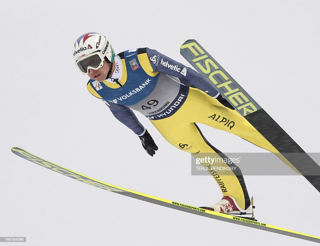 Switzerland's Simon Ammann competes in the Ski Flying event of the FIS Ski Jumping World Cup in Vikersund, Norway, on January 27, 2013.