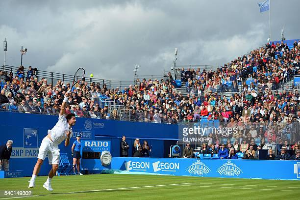 Switzerland's Stan Wawrinka in action during his match against Spain's Fernando Verdasco at the ATP Aegon Championships tennis tournament at the...