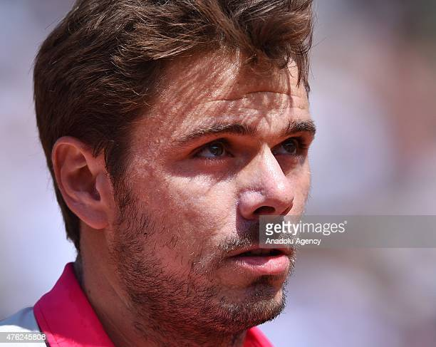 Switzerland's Stan Wawrinka reacts as he plays against Serbia's Novak Djokovic during their final match for the French Open tennis tournament at...