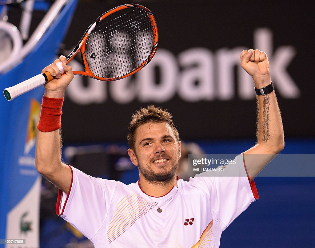Switzerland's Stanislas Wawrinka celebrates after victory in his men's singles match against Spain's Tommy Robredo on day seven of the 2014 Australian Open tennis tournament in Melbourne on January 19, 2014. IMAGE RESTRICTED TO EDITORIAL USE - STRICTLY NO COMMERCIAL USE AFP PHOTO / WILLIAM WEST