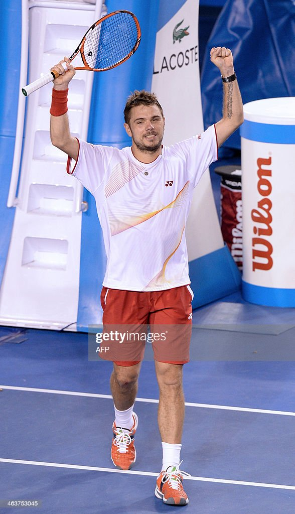 Switzerland's Stanislas Wawrinka celebrates after victory in his men's singles match against Spain's Tommy Robredo on day seven of the 2014 Australian Open tennis tournament in Melbourne on January 19, 2014. IMAGE RESTRICTED TO EDITORIAL USE - STRICTLY NO COMMERCIAL USE AFP PHOTO / MAL FAIRCLOUGH