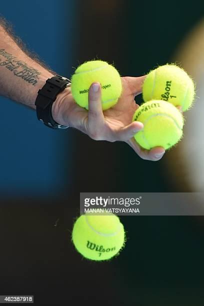Switzerland's Stanislas Wawrinka prepares to serve during his men's singles match against Japan's Kei Nishikori on day ten of the 2015 Australian...