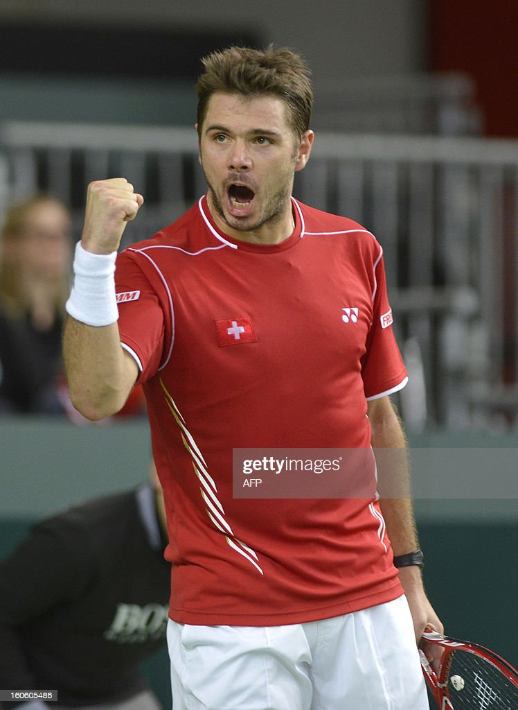 Switzerland's Stanislas Wawrinka reacts during a Davis Cup World Group first round tennis game against his Czech's opponent Tomas Berdych on February 3, 2013 in Geneva.