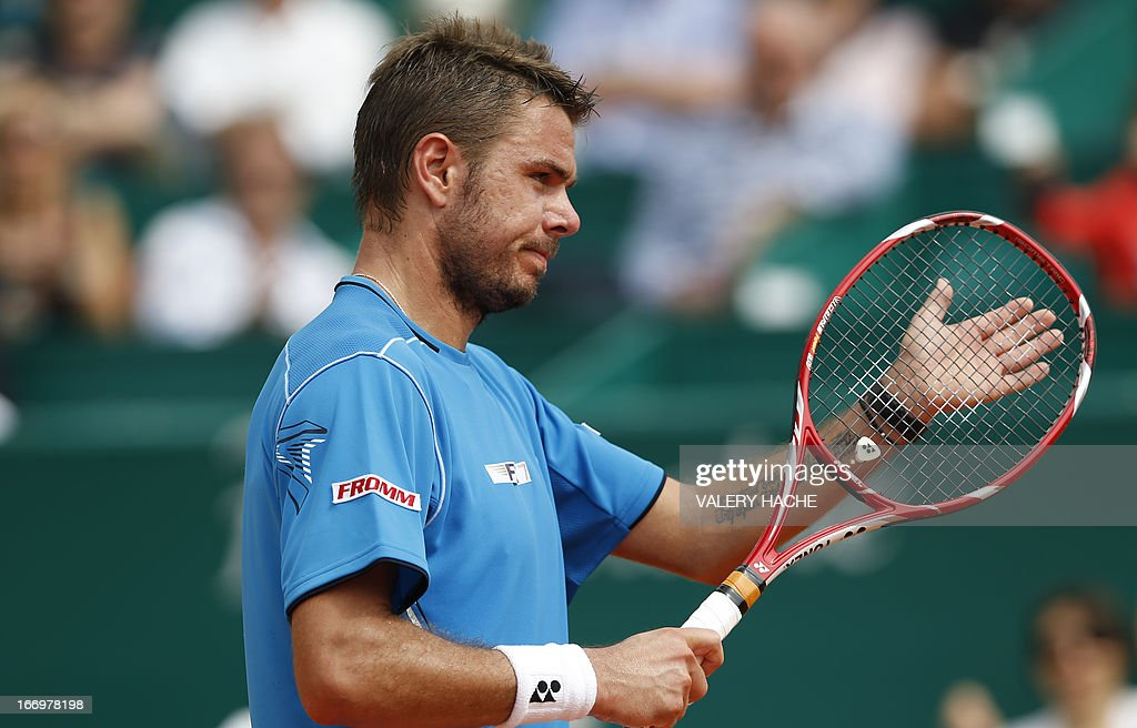 Switzerland's Stanislas Wawrinka reacts during a Monte-Carlo ATP Masters Series Tournament tennis match against France's Jo Wilfried Tsonga on April 19, 2013 in Monaco. AFP PHOTO / VALERY HACHE