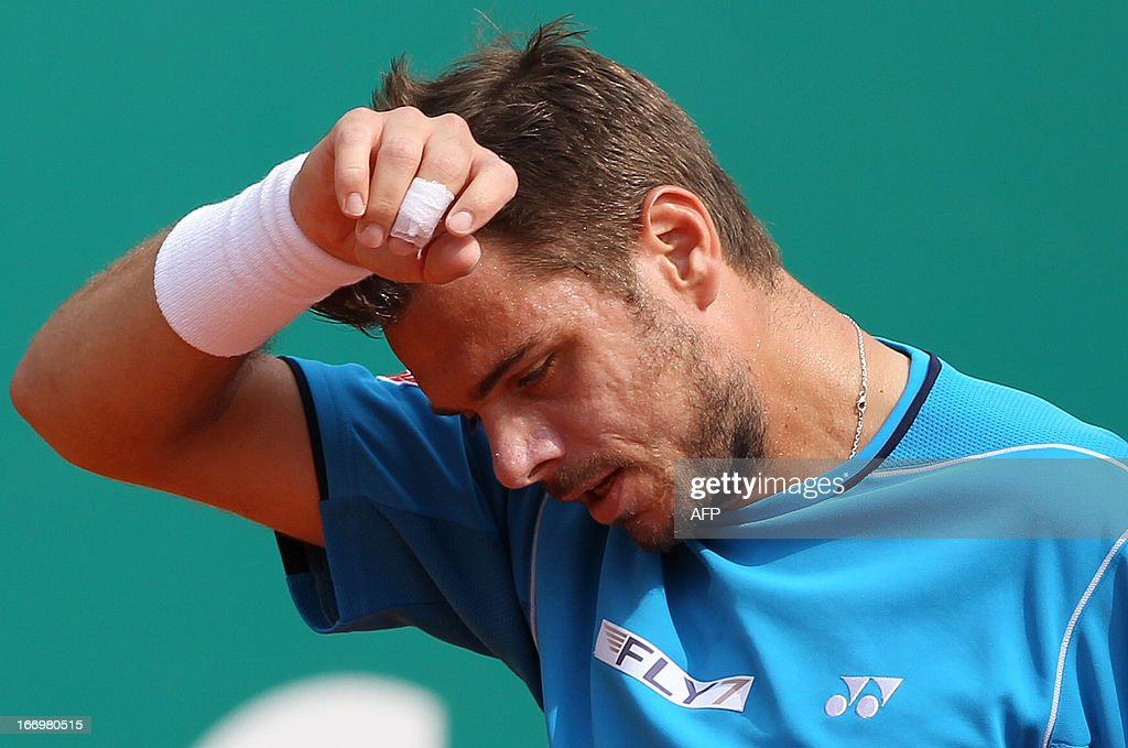 Switzerland's Stanislas Wawrinka reacts during his match French's Jo-Wilfried Tsonga at the Monte-Carlo ATP Masters Series Tennis Tournament on April 19, 2013, in Monaco.