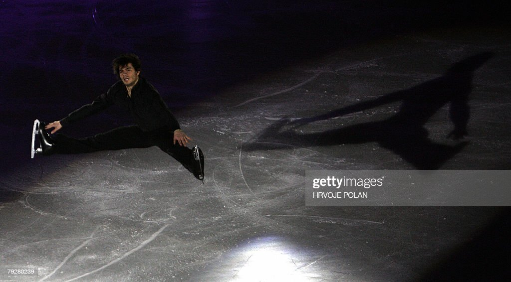 Switzerland's Stephane Lambiel performs an exhibition program at the Dom Sportova Arena in Zagreb 27 January 2008 during the gala of the European...