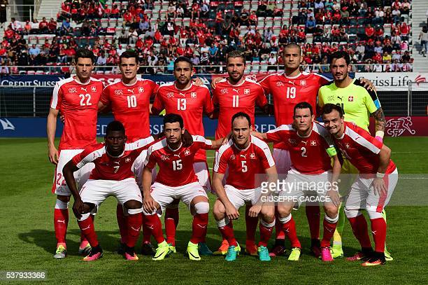 Switzerland's team pose before the International friendly football match between Switzerland and Moldavia in Lugano on June 03 in preparation for the...