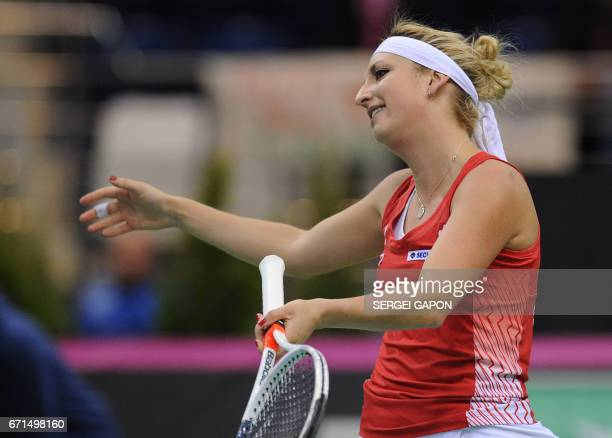 Switzerland's Timea Bacsinszky reacts during her match against Belarus' Aryna Sabalenka during the semifinals of the Fed Cup tennis competition...