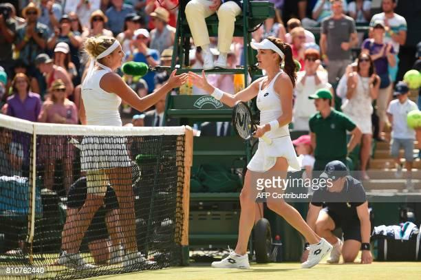 Switzerland's Timea Bacsinszky shakes hands with Poland's Agnieszka Radwanska after Radwanska won their women's singles third round match on the...