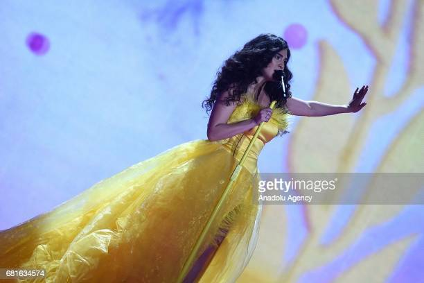 Switzerland's Timebelle performs the song 'Apollo' during the second semifinal dress rehearsal of Eurovision Song Contest 2017 at the International...
