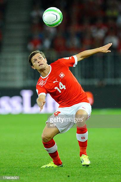 Switzerland's Valentin Stocker eyes the ball during the FIFA World Cup 2014 qualifying football match between Switzerland and Iceland at the Stade de...