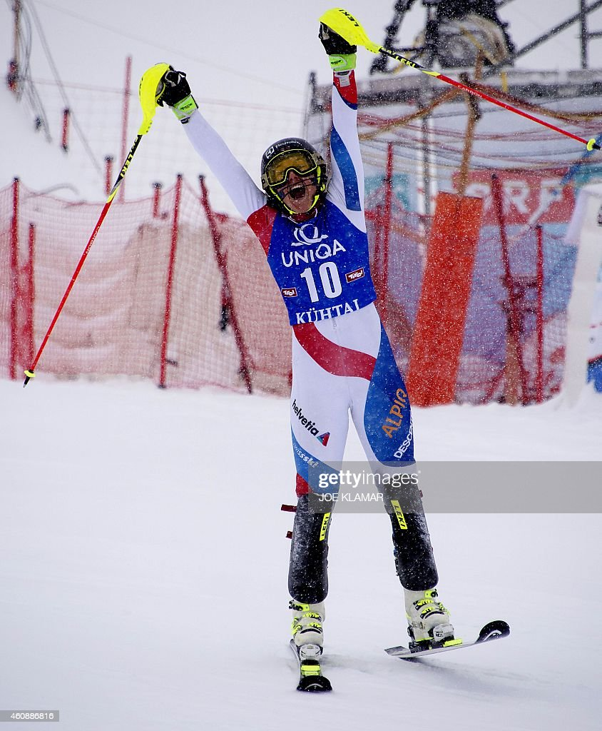 Switzerland's <a gi-track='captionPersonalityLinkClicked' href=/galleries/search?phrase=Wendy+Holdener&family=editorial&specificpeople=7471001 ng-click='$event.stopPropagation()'>Wendy Holdener</a> celebrates her third place during the Women's Slalom during the FIS Ski World cup in Kuehtai, Austria on December 29, 2014. AFP PHOTO/JOE KLAMAR