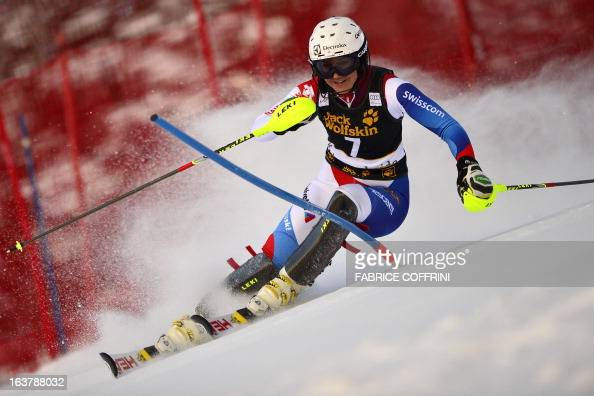 Switzerland's Wendy Holdener competes during the Women Slalom race at the Alpine ski World Cup finals on March 16 2013 in Lenzerheide AFP PHOTO /...